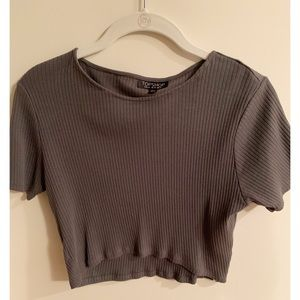 Dark grey ribbed Top Shop crop top